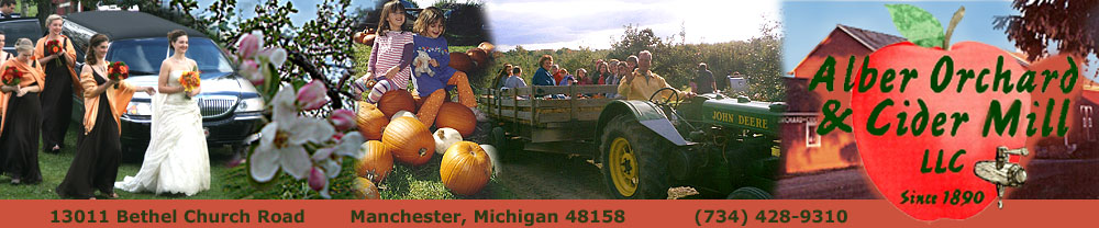 Alber Orchard and Cider Mill offers heirloom, locally grown apples.   It is also the perfect location for relaxed, country weddings and special events, field trips and family outings.  Located in Manchester, Michigan, just west of Detroit and Ann Arbor.