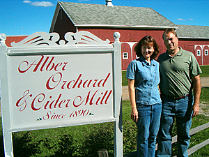 Therese & Mike Bossory, owners of Alber Orchard & Cider Mill, Manchester, Michigan would love you host your wedding or company picnic.  We are very close to Detroit and Ann Arbor.